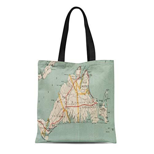 Semtomn Cotton Line Canvas Tote Bag Massachusetts Vintage Map of Martha Vineyard Old Historical Antique Reusable Handbag Shoulder Grocery Shopping - Massachusetts Bag