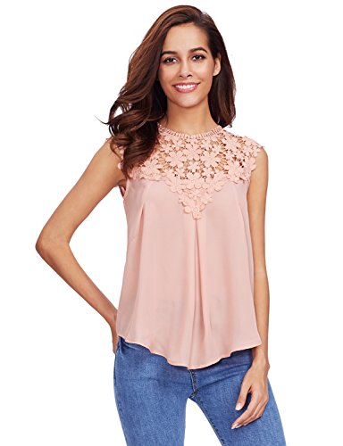 Floerns Women's Lace Neckline Sleeveless Chiffon Blouse Top