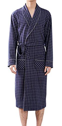 KLJR Men Bathrobe Spa Kimono Shawl Collar Knee Length Cotton Robe Two US L