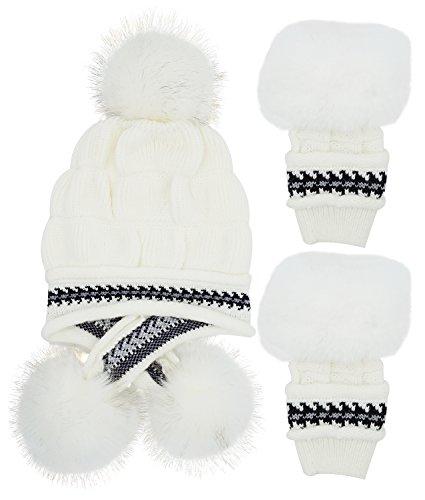 Bellady Women Knit Beanie Winter Ski Hat Cap With Earflap Pom Glove Set,White
