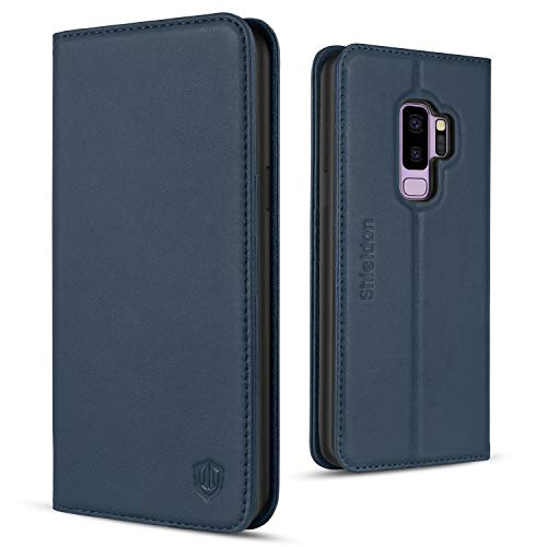 SHIELDON Galaxy S9 Plus Case, Genuine Leather Flip Galaxy S9+ Wallet Kickstand Magnetic Protective Cover with Card Slot Holder Soft TPU Case Compatible with Galaxy S9+ S9Plus - Dark Blue