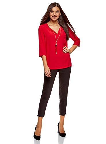 Rosso oodji Donna con Decorazione Collection Camicetta Dritta 4500n RfUnvqR
