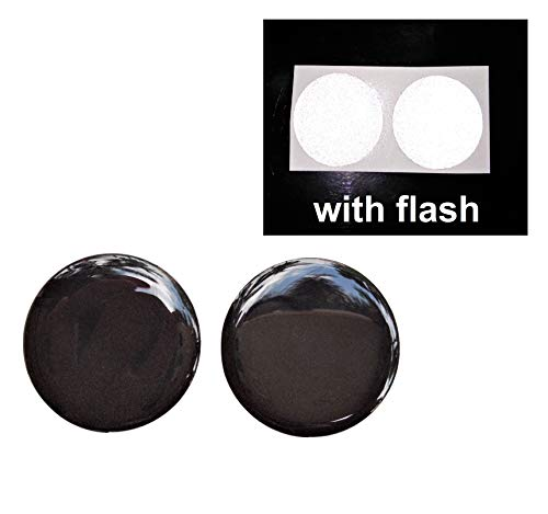 Domed Black to White 3M Reflective Decal Sticker Safety Round Circle Gel Resin 3D Rear Tailgate Bike Helmet Car Motorbike Night Flash