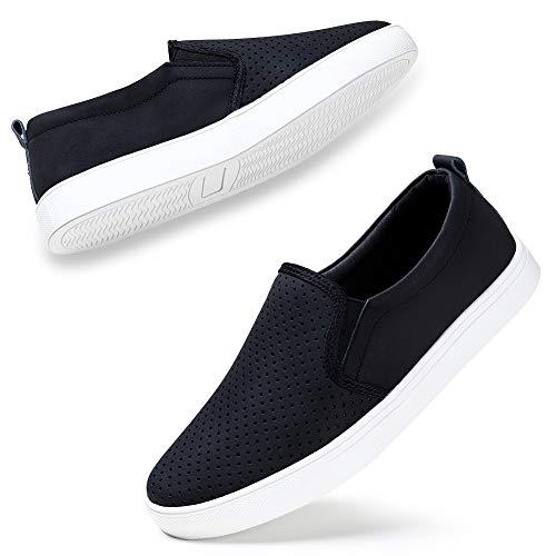 STQ Women's Round Toe Perforated Laser Cutout Slip-On Flatform Fashion Sneaker Black, 6 M US