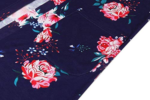 Moda Oscuro Floreadas Chaqueta Vintage Mujer Elegante Elegante Moda con Outerwear Ropa Cardigan Manga Azul Otoño Joven Festivo Primavera Abrigos Fit Larga Casual Bolsillos Slim wAgCC0q