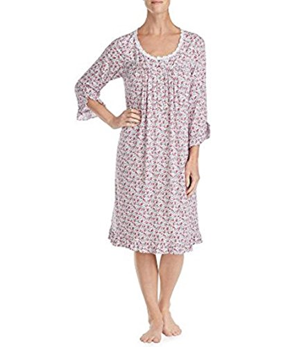 Eileen West Ditsy Floral Jersey Waltz Nightgown 93% Modal 7% Spandex (Burgundy Multi, L) -