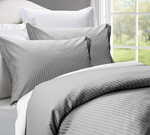 500 Thread Count 100% Cotton Stripe Best Hotel Luxury Bedding 3-Piece Duvet Cover Set Zipper Closure-King (106