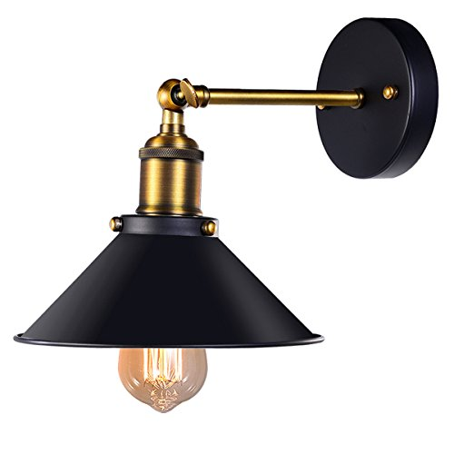 Black Antique Wall Sconce, Industrial Retro Wall Light Fixture Metal Lamp Shade 240 Degree Adjustable.Be used for restaurants and galleries,Aisle,kitchen,Room,Doorway by CMYK