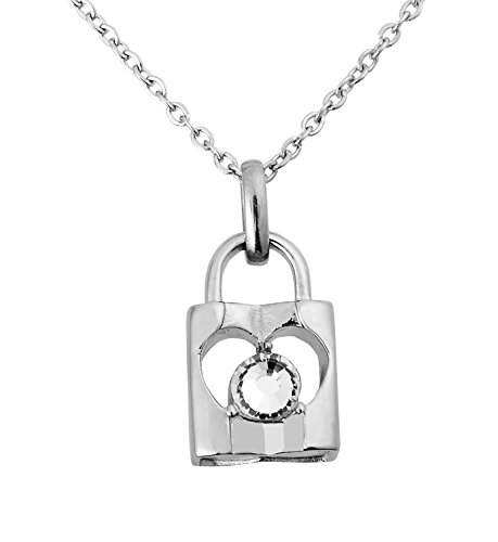 Zoey Jewelry Forever Locked Cremation Urn Pendant Ashes Memorial Necklace 316L Grade (Diamond Lock)