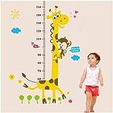 XL! Giraffe Growth Chart, Maßband Messlatte Wandtattoo Wandaufkleber Wandsticker Kinderzimmer Geschenk Gr. 60*90cm