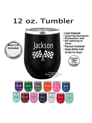 - ENGRAVED Stainless Steel Wine Insulated Tumbler, ONE 12oz Personalized Racing Flag Gift Wine Tumbler, Father's Day, Teacher Appreciation, Racing Car Tumbler, Bachelor, Wedding Gifts, Any Color Shown