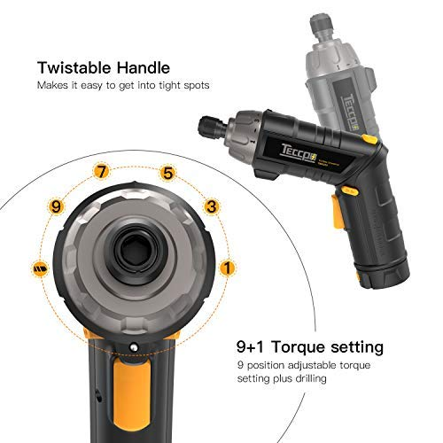 Electric Cordless Screwdriver Rechargeable, Torque 6Nm, 4V Max 2.0Ah Li-ion, 9+1 Torque Gears, 44 Bits, Adjustable 2 Position Handle with LED Torch, USB Charging. by TECCPO (Image #3)