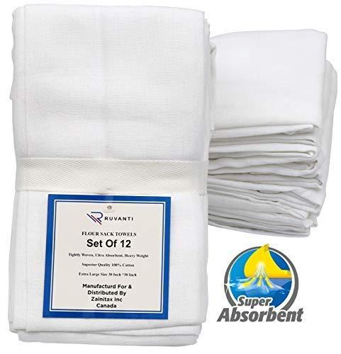 Ruvanti 12 Pack Extra Large Premium Flour Sack Dish Towels (30