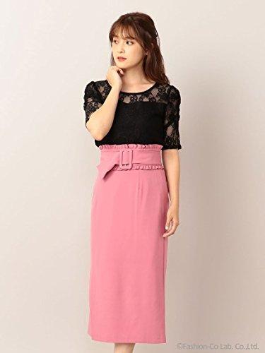 MIIA (ミーア) フリルベルト付きタイトスカート B07FJMZGSM  ピンク F