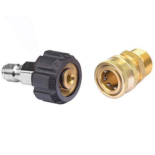 DUSICHIN DUS3822 Pressure Washer Adapter Set 3/8 Inch Quick Connect to M22 Female Metric & 3/8 Inch Quick Connect to M22-14mm Metric Fitting for High Pressure Washer Gun and Hose