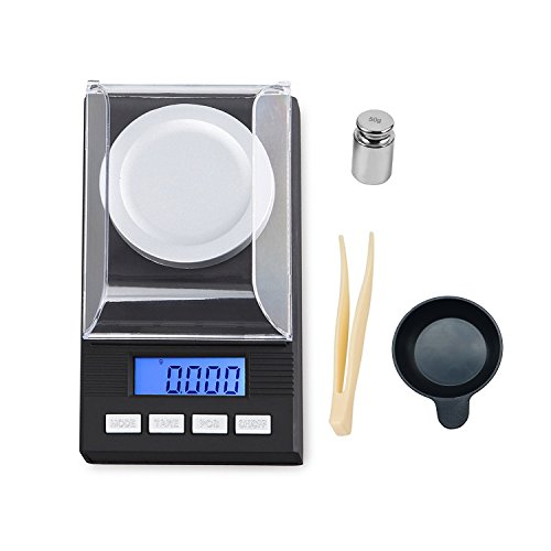 High Precision Digital Milligram Scale 50g/1.7637oz Capacity, 0.001g /0.0001oz Division, Portable Jewelry Scale Digital Weight with Calibration Weights Tweezers and Weighing Pans