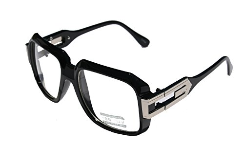 Large Classic Retro Square Frame Clear Lens Glasses with Gold Accent (Gloss Black ()