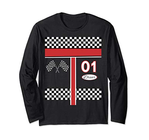Race Car Driver Costume Shirt for Halloween Long Sleeve T-Shirt]()