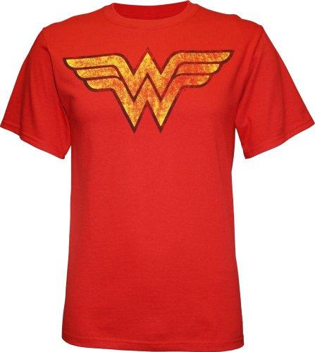 Wonder Woman Costumes Change Comic (Wonder Woman Distressed Logo Red T-Shirt (xl))