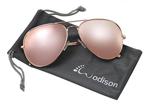 WODISON Frauen Aviator Sonnenbrille Polarisierte Metall Rahmen UV400 Schutz mit Beutel (Rosa Linse) NcPCc