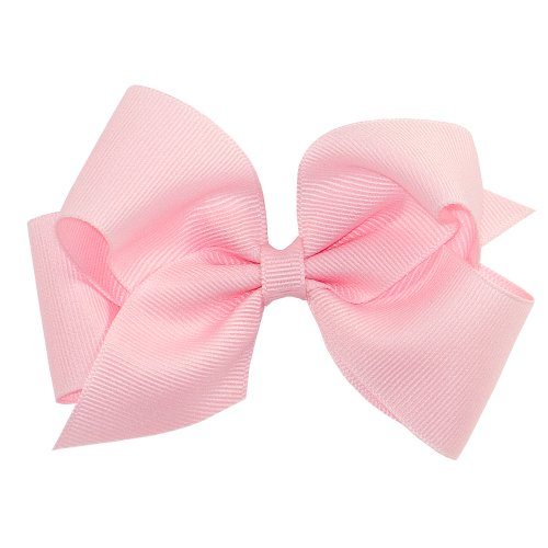 Baby Pink Bow - Wee Ones Baby Girls' Small Classic Grosgrain Hair Bow on a WeeStay Clip w/Plain Wrap - Light Pink