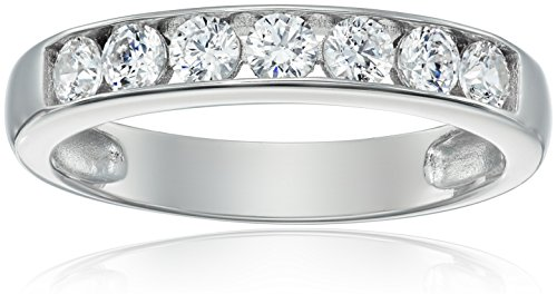 (Sterling Silver Platinum-Plated Swarovski Zirconia Round Channel Band Ring, Size 9)