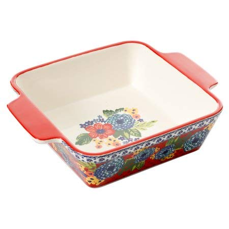 The Pioneer Woman Dazzling Dahlias 8-Inch Square Baker
