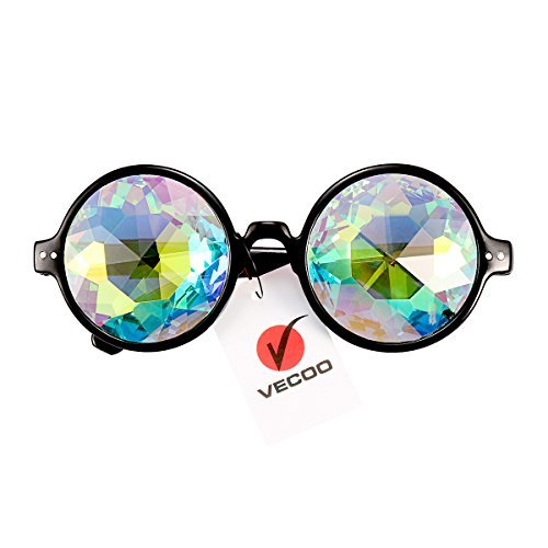VECOO Geometric Prism Rainbow Kaleidoscope Glasses Bling Bling Crystal Prism Diffraction Glasses with Gift Box Bag - Crystal Kaleidoscope