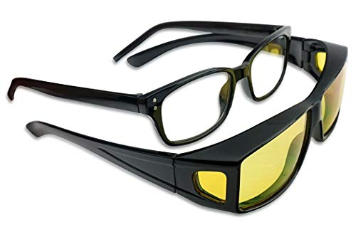Black Wrap Around Fit Over Sunglasses w/ Yellow Polarized HD Night Vision Lenses