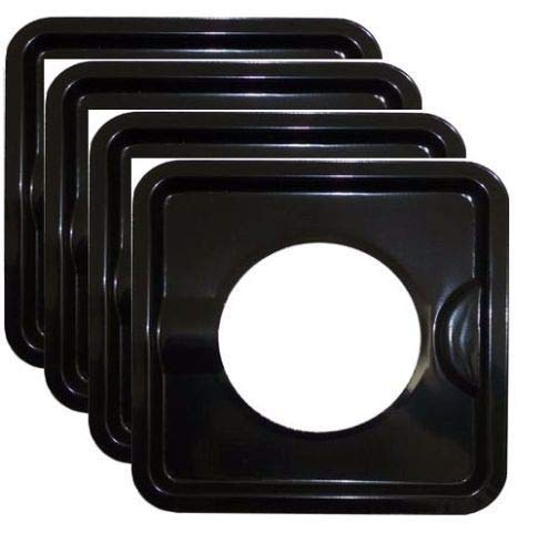 michealvkwam 4 Pcs Heavy Duty Reusable Square Steel Gas Burner Stove Covers by michealvkwam