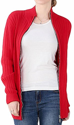 YUNY Womens Stand Collar Zip Front Long Sleeve Knit Sweater Cardigan Red L