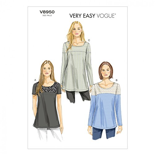 - Vogue Ladies Easy Sewing Pattern 8950 Colour Block Tunic Tops