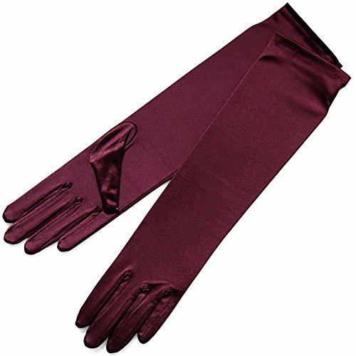 ZaZa Bridal 15.5'' Long Shiny Stretch Satin Dress Gloves Below-The-Elbow Length 8BL-Plum by ZaZa Bridal (Image #1)