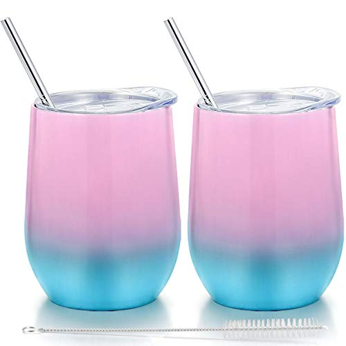Fungun 12 oz Stemless Wine Tumbler, Stainless Steel Wine Glass, Insulated Tumbler with Lids for Wine, Coffee, Drinks, Cocktails, 2 Sets Including 2 Pieces Straws and Brush (Colorful1)