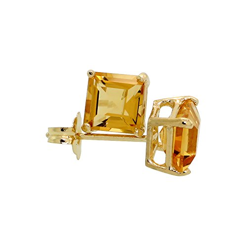 14K Yellow Gold 5 mm Natural Citrine Square Stud Earrings 1 cttw November Birthstone