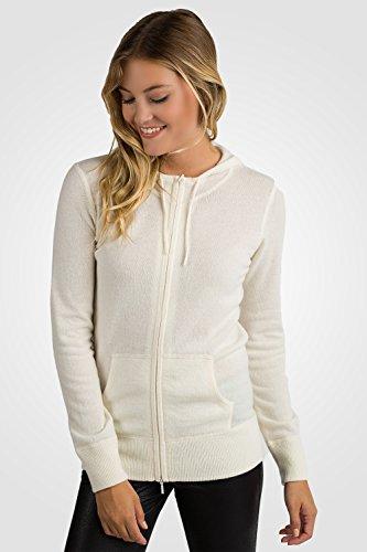 Jennie Liu para mujer, 100% puro cachemir manga larga cremallera sudadera con capucha Cardigan Sweater Crema