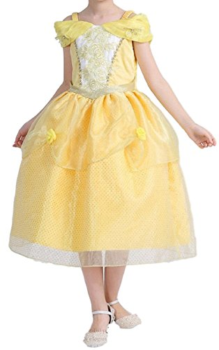Cute Country Girl Costume (FLK Little Girls Princess Yellow Costume Fairy Country Dress Up (3T))