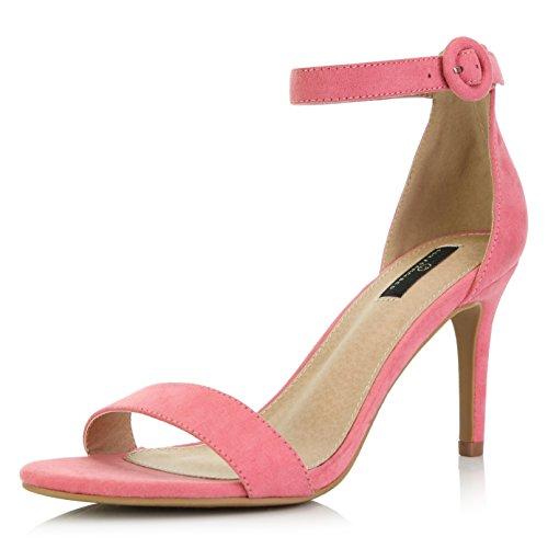 DailyShoes Women's Stilettos Open Toe Pump Ankle Strap Dress High Heel Sandals, Mauve Suede, 9 B(M) US