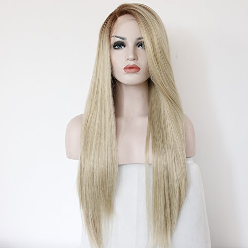 eNilecor Blonde Lace Front Wig, Long Straight Wigs Realistic Synthetic Hair Replacement Wig Ombre 2 Tone for -
