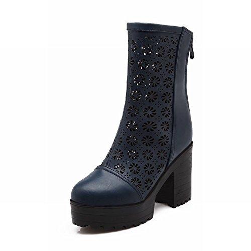 Latasa Kvinna Mode Urholka Dragkedja Tillbaka Blockera Hög Klack Kort Plattform Stövlar, Klänning Boots Blå