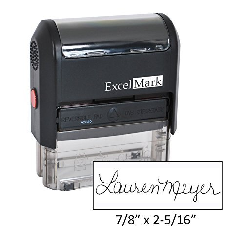 Custom Signature Stamp - Self Inking - Black Ink (Large) (Line Signature)