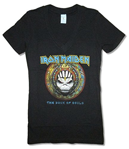 (Real Swag Inc Iron Maiden Book of Souls Label Girls Juniors Black V Neck T Shirt (S))
