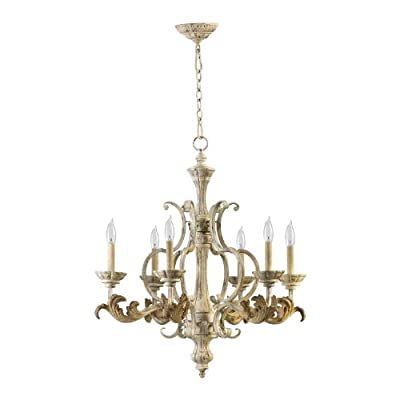 Quorum Florence 6 Light Up Chandelier in Persian White