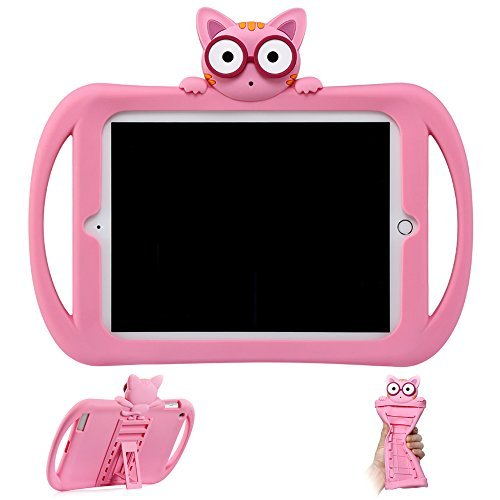 Ipad Mini Case For Kids | Children's Apple Accessories | Kawayi Cats Protective Defender | Stand Tablet Cover With Kickstand | Girls Carrying Silicone Bumper With Holder for iPad 1-2-3-4 (pink) by Starthere (Image #1)