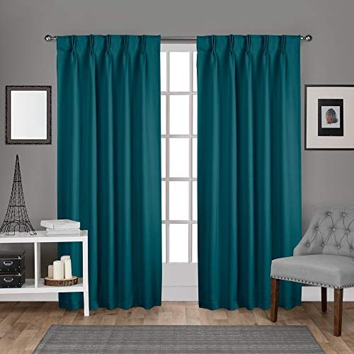 Exclusive Home Curtains Sateen Twill Woven Blackout Pinch Pleat Curtain Panel Pair, 96