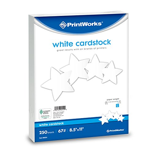 Printworks White Cardstock, 67 lb, 96 Bright, SFI Certified, Perfect for School and Craft Projects, 8.5 x 11 Inch, 250 Sheets (00554) -