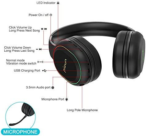 Bluetooth Headphones with Microphone Deep Bass Wireless Headphones Over Ear, Noise Cancelling Headphones, Foldable Headset with Comfortable Protein Earpads, 60 Hours Playtime, for Travel/Work, Black