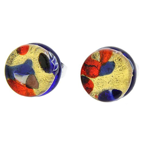 GlassOfVenice Murano Glass Venetian Reflections Round Stud Earrings - Blue Red