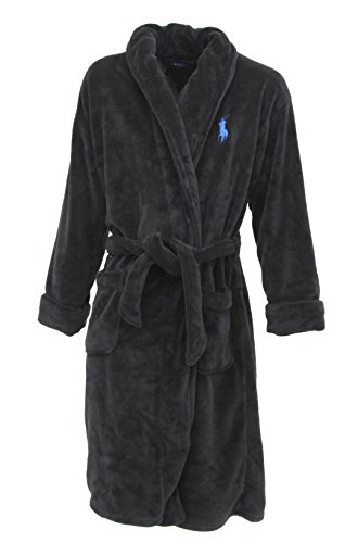 (Polo Ralph Lauren Plush Terry Shawl Collar Robe, One Size, Polo Black)