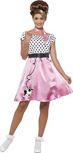 [Smiffy's Women's 1950's Rock N Roll Costume, Dress, Belt and Neck scarf, Rockin' 50's, Serious fun, Size 6-8,] (All Costumes For Girls)